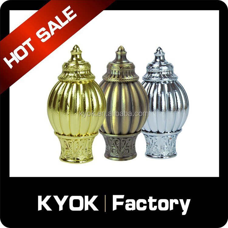 KYOK Delicate curtain finial/end new model, Luxury Muslim home decor window curtain rod/tube wholesale, shower curtain parts