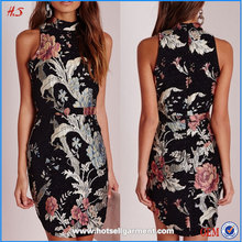 Tapestry Oriental Floral High Neck Mini Dress Of Clothing Stores Wholesale From Clothing Factories In China For Boutique Dress