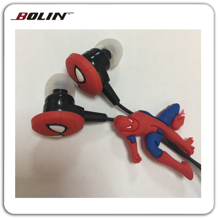 Gifts Silicon Spider Man Shape Cartoon Small Earphones For Children