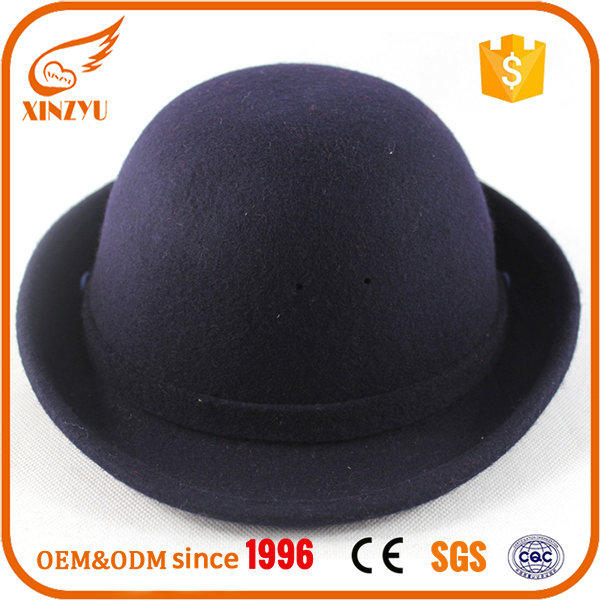 New style hot sell kids rock fedora hats navy black wool children felt hats