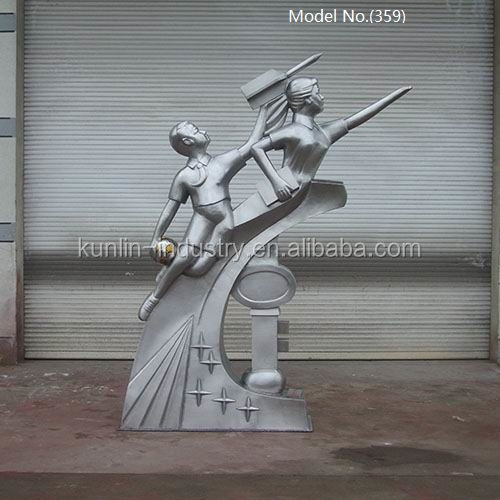 Boy and Girl Statues Sculpture Stainless Figures For School Decor