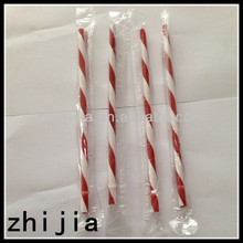 Colorful plastic wrapped acrylic straws striped
