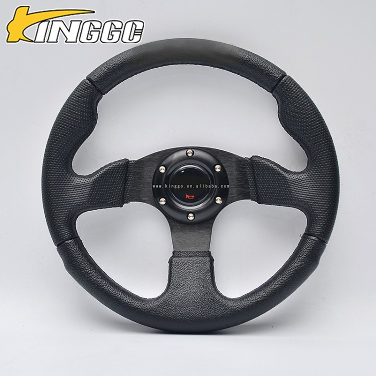 low price aluminum frame leather custom steering wheel w/horn button