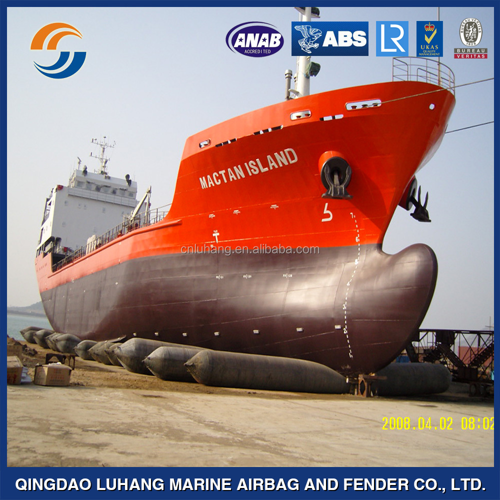 Tugboat ship launching rubber airbag and ballons