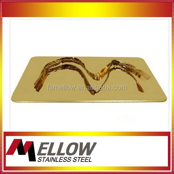 Fohsan Manufacture Mellow aisi 304 titanium gold mirror stainless steel sheet for wall panel decoration