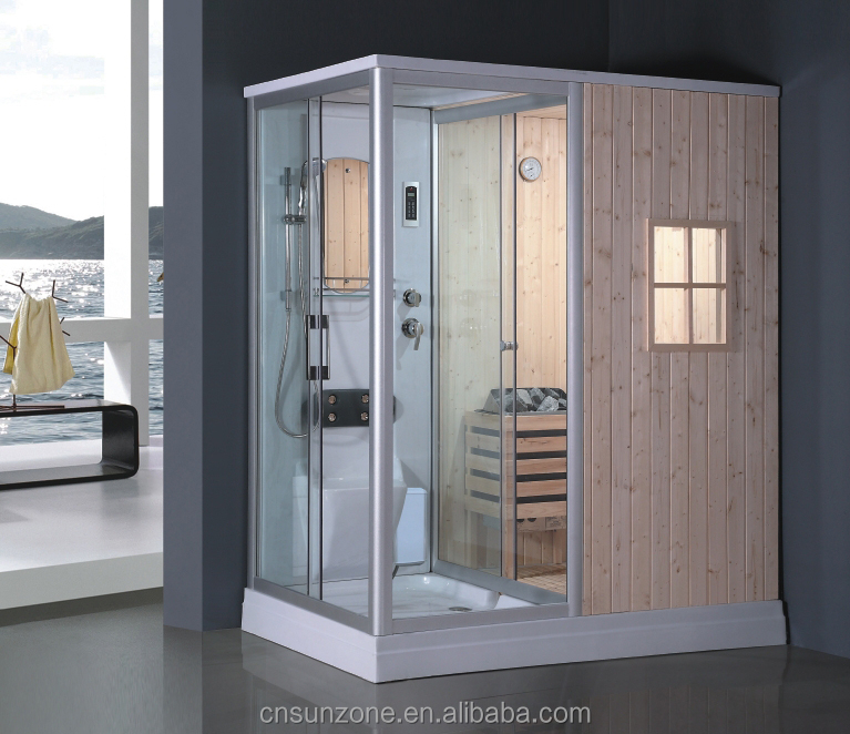 Hot selling! SUNZOOM steam sauna shower combination, wood steam sauna room, home steam room shower