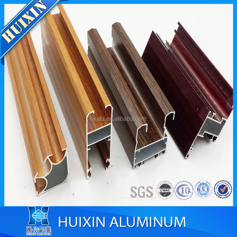 Hot sale Wooden Grian coated extruded aluminum profile for window, cabinet, door, LIBYA