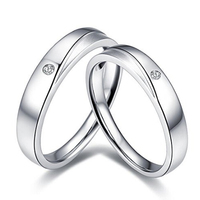 14K White Gold Plated 925 Silver Couple Wedding Ring For Lover