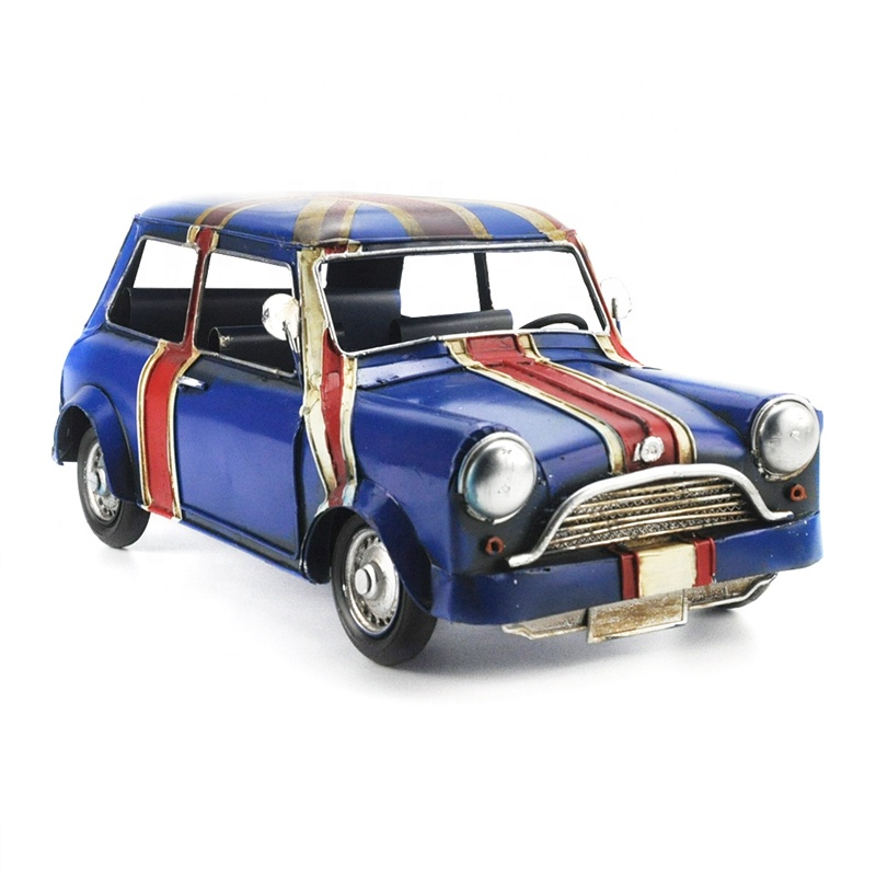 Antique Home Decoration Iron Metal Craft Retro Vintage Car Model Handmade British Flag Birthday Gift Miniatures