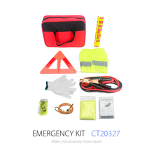 Roadside Assistance Car Emergency Kit Rugged Tool Bag Contains Jumper Cables, tools, Reflective Safety Triangle