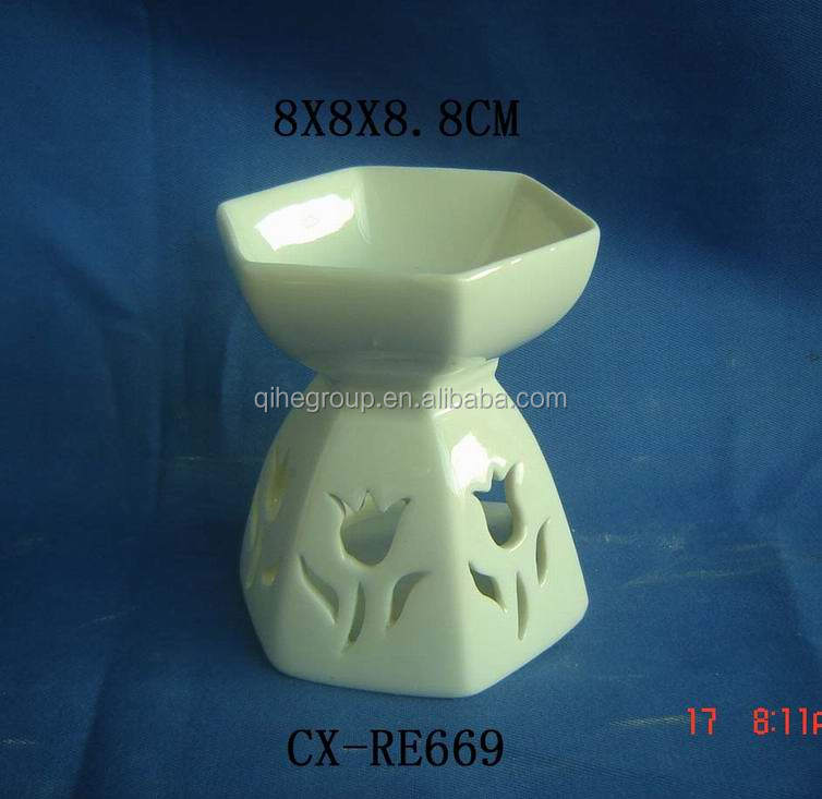 ornate porcelain essential oil burner in flower shape