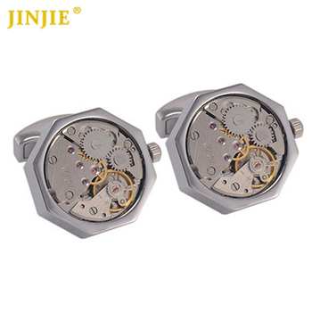 JINJIE 1 Pair High-end Of Mechanical Tourbillon Watch Movement Cufflinks Octagon Sleeve Button Cuff link with Packing Box