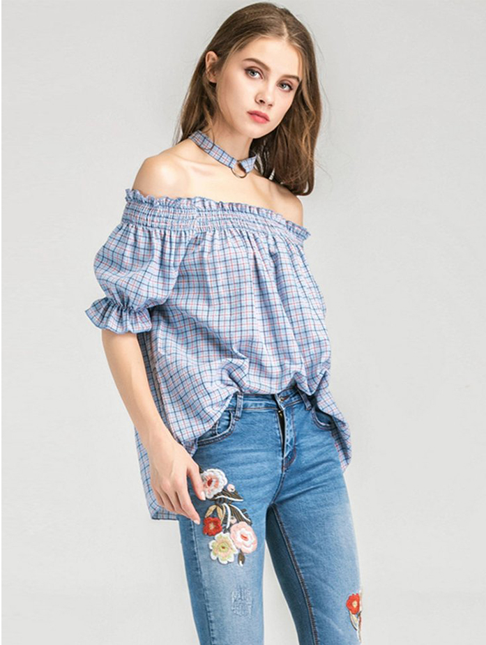 Summer Off Shoulder Blouse With Plaid Pattern