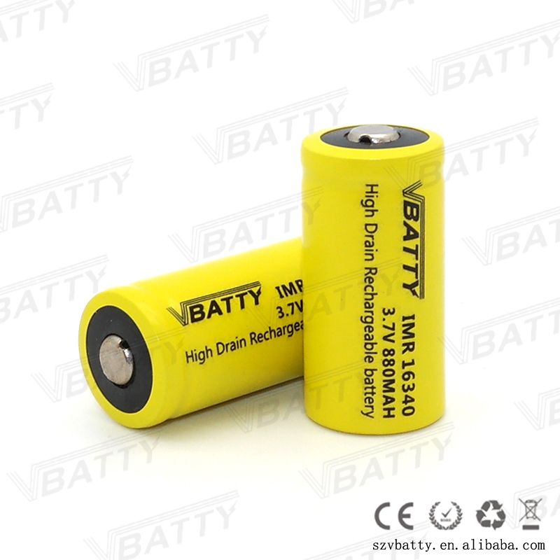 Wholesale Vbatty 16340 880mah 3.7v rechargeable battery,Button top 14500 16340 lithium battery