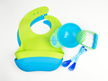Baby Feeding Accessories Bundle: Suction Bowl + Food Masher + Spoon + Bib, Multiple Color, Private Label
