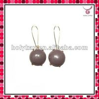 New arrival my style jewelry, 2012 new style gray single glass bubble earrings