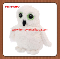 Stuffed white Owl with Glow in the Dark Eyes chinchilla plush stuffed toy for christmas