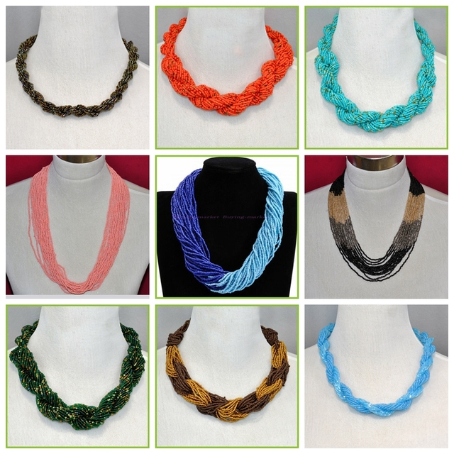 Fashion Multilayer Cluster Strand Handmade Choker Seed Bead Necklace