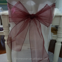 cheap finished organza chair sash for home decoration