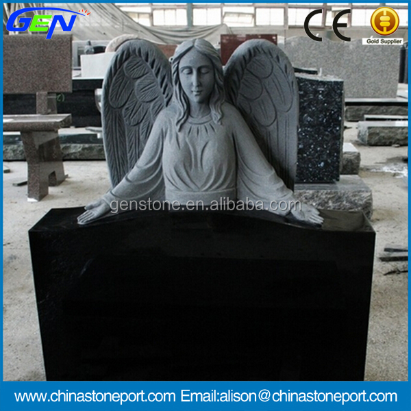 Top Design Shanxi Black Polished Angel Tombstone & Monument