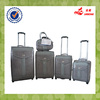 4 pcs two wheels gray PU leather travel luggage