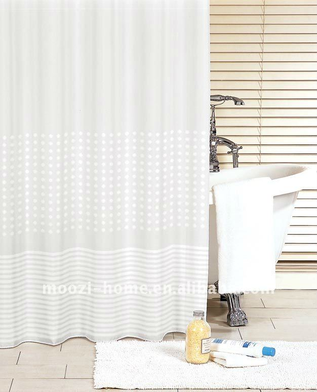 white dot & wave polyester lace shower curtain