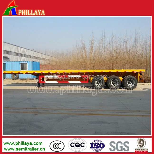 High quality 40ft 3 Axles Platform Container Semi Lorry