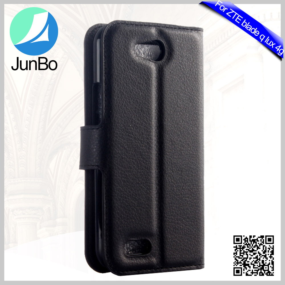 Alibaba Smartphone Accessory Wholesale Lichee Grain PU Leather Mobile Phone Cover For Zte blade q lux 4g