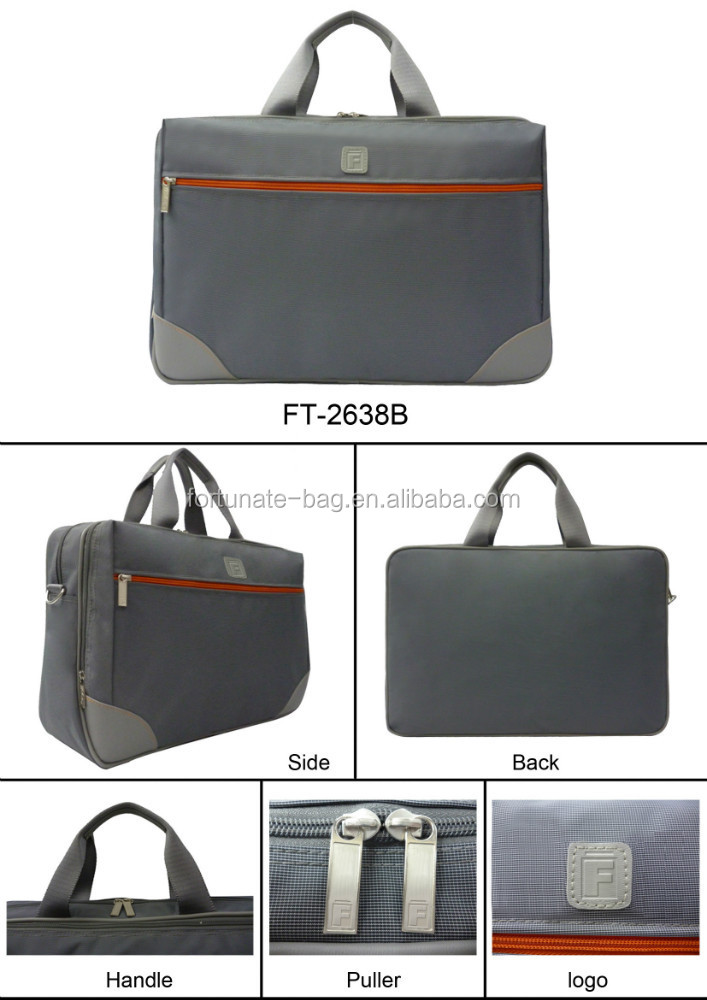 Hot sale high quality newest fashion Promotional Trendy design grey color computer laptop bag polyester