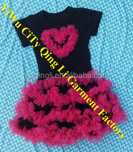 Boutique Girl Clothing Custom Black Lace Ruffle Princess Dress with Red Heart Girl Party Dress