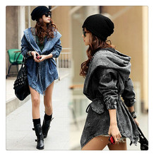New fashion european style big yard hooded denim shawl coat women trench coat