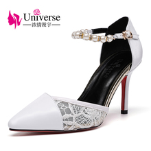 E150 lace upper pearl ankle strap women dress shoes wedding shoes