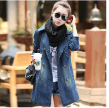 D84448H 2014 AUTUMN KOREA NEW FASHION DOUBLE-BREASTED LEISURE LADIES COWBOY COATS