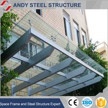 glass stainless steel canopy ,outdoor canopy for Steel Building