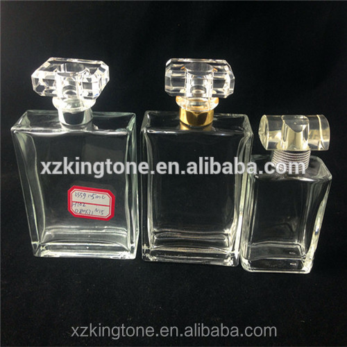 China glass bottle manufacturers export hot sale Custom made 100ml transparent nice glass perfume bottle and lid