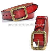flower pattern debossed unique genuine leather belts with brass square bucke