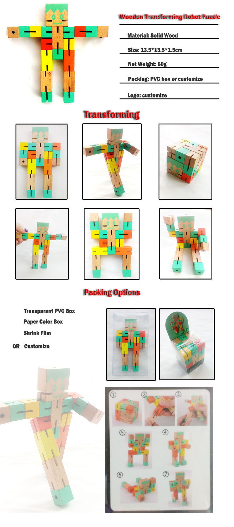Logo Printing Toys for Kids, Educational Wooden Robot Puzzle Cube Puzzle Toys Intelligence Toy