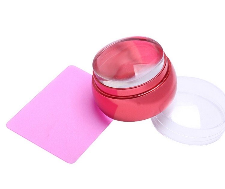 Nail Art round Silicone Stamper Stamping Transfer Image Scraper Plate Template