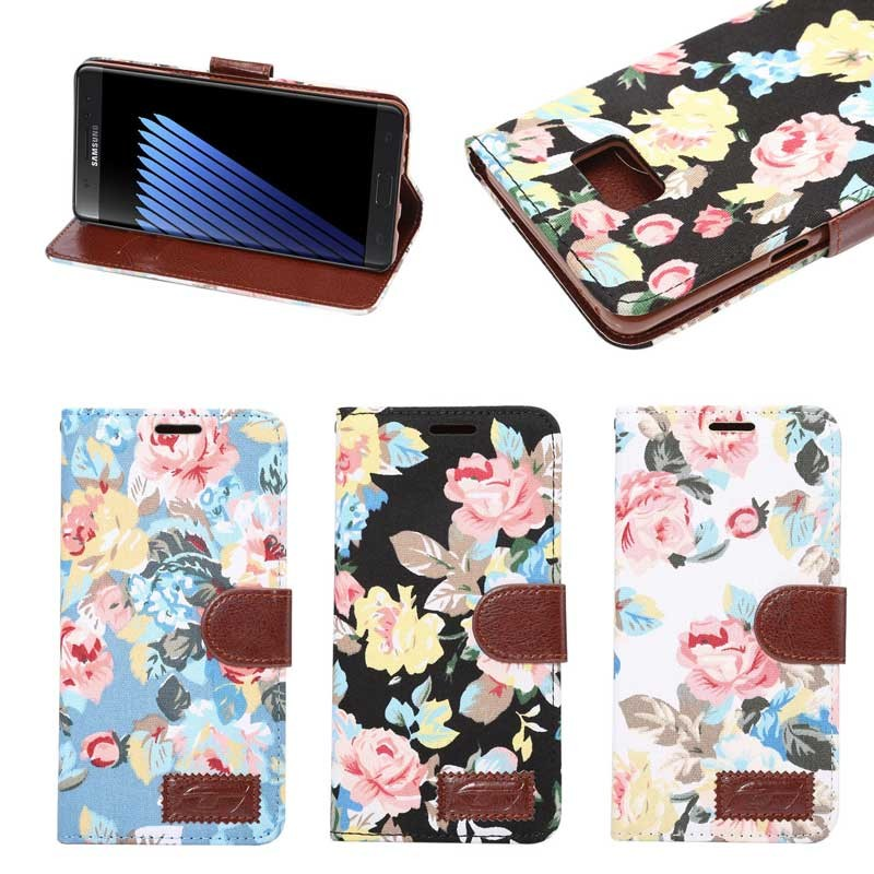 girl's style flip card slots case for Samsung note 7 , For samsung note7 wallet case