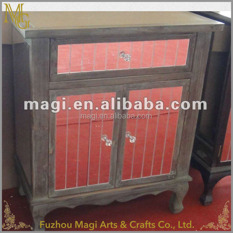 Shabby distressed mirrored wood furniture