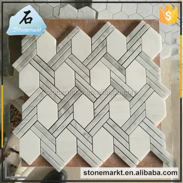 Wall decoration polished modern marble hexagon tile mosaic