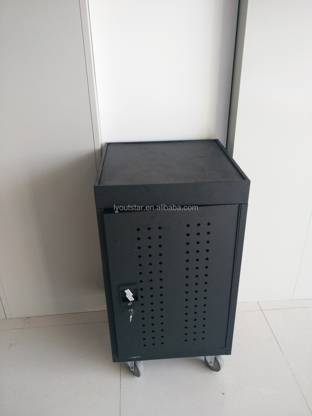 High Quality Metal Mobile Pedestal Single door Air mesh movable shelves file storage cabinet