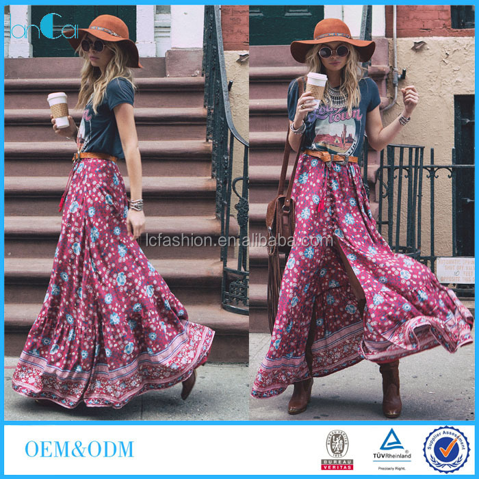 2016 Fashion Boho Chic Clothing Women Rayon Fabrics Maxi