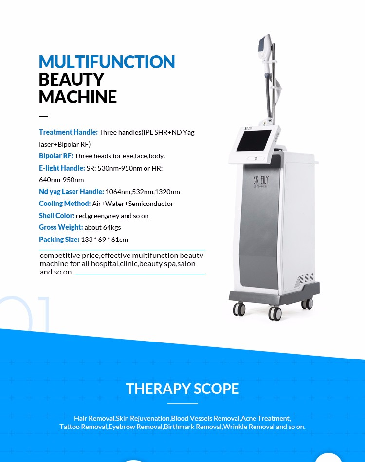 E-light Hair Removal,Skin Rejuvenation ,vascular removal Pigments Acne removal Face lifting instrument