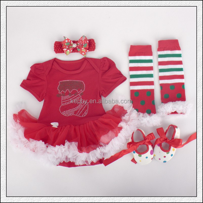 Baby Girls dot christmas Bodysuit Pettiskirt and Headband and shoes Set NB-12M with leg warmers