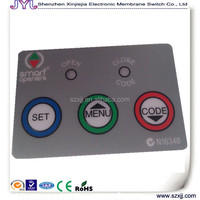 three buttons lexan graphic overlay with led transparent window