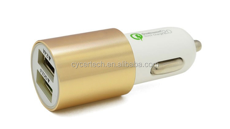 QC2.0 Qualcomm fast charge car charger with dual output