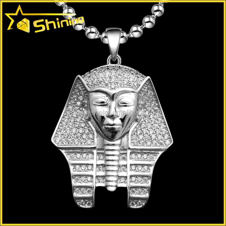 hiphop iced out bling bling cz 14k white gold pharaoh king tut pendant necklace