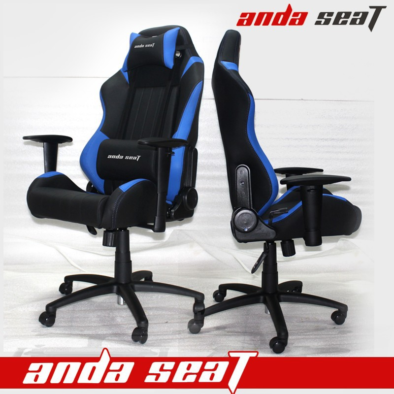OEM/ODM Adjustable Racing Office Chairs in Blue Black PVC Leather SPO