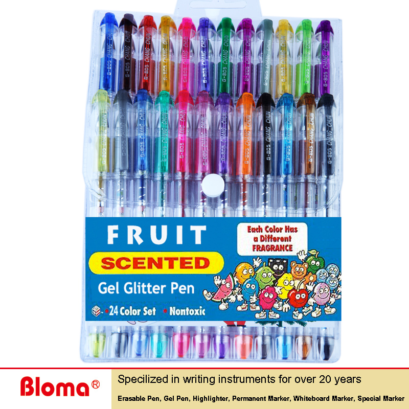 Hot Sell China 24 colors fruit scented glitter gel pen set